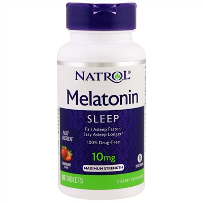 Natrol, Melatonin, Sleep, Maximum Strength, Strawberry, 10 mg, 60 Tablets