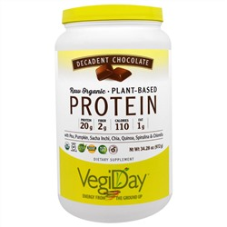 Natural Factors, NATURAL FACTORS, VegiDay Raw Organic Plant-Based Protein - Decadent Chocolate, 32.28 oz