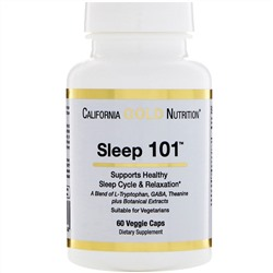 California Gold Nutrition, Targeted Support, Sleep 101, 60 растительных капсул
