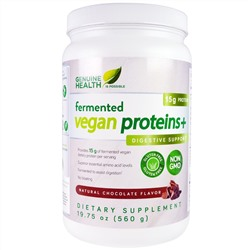 Genuine Health Corporation, Fermented Vegan Proteins+, Digestive Support, Natural Chocolate Flavor, 19.75 oz (560 g)