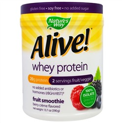 Nature's Way, Alive! Whey Protein, Berry Creme Flavored , 13.7 oz (390 g)