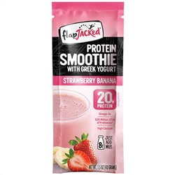 FlapJacked, Protein Smoothie with Greek Yogurt, Strawberry Banana, 12 Single Serve Packets, 1.5 oz (43 g) Each