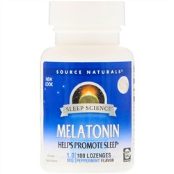 Source Naturals, Melatonin, Peppermint Flavor, 1.0 mg, 100 Lozenges