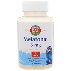 KAL, Melatonin, 3 mg, 120 Tablets